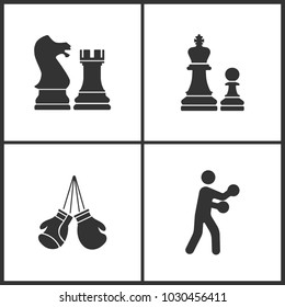 Vector Illustration of Sport Set Icons. Elements of Chess, Boxing gloves and Boxing icon on white background