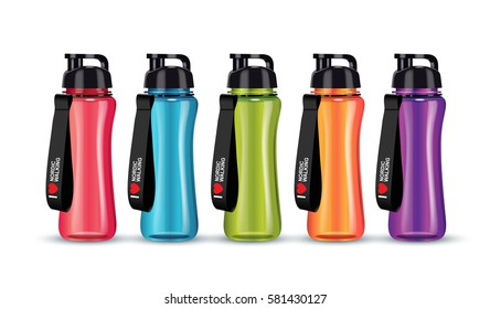 Vector illustration of sport water bottle. Realistic illustration of sport accessoires.