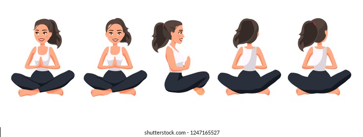 Vector illustration of sportive women in lotus position with namaste hands. Cartoon realistic people illustration practicing yoga. Flat young woman. Front view girl, Side view girl, Back side view.