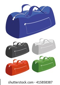 Vector illustration of a sports camp bags in different colors: blue, orange, green, black and white