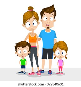 Vector illustration of sports family