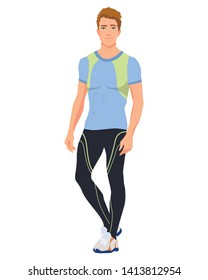 Vector illustration of sports man in sportswear under the white background. Cartoon realistic people illustartion. Flat young athlete. Front view man.
