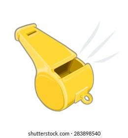 A vector illustration of a sports whistle being blown. Sports whistle or whistle blower concept icon. Metal refereeâ??s whistle.