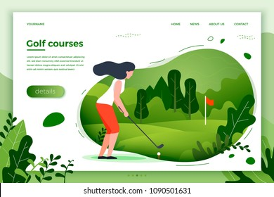 Vector illustration - sporty girl playing golf. Court, park, trees and hills on green background. Banner, site, poster template with place for your text.