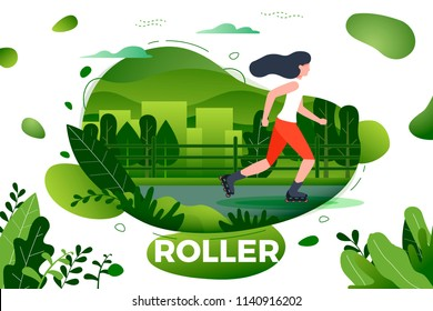 Vector illustration - sporty girl roller skating. City, park, trees and hills on green background. Banner, site, poster template with place for your text.