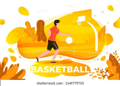 Vector illustration - sporty man playing basketball. Court, park, trees and hills on yellow autumn background. Banner, site, poster template with place for your text.