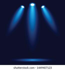 Vector illustration of spotlight with 3 lights