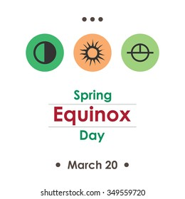 Vector illustration for spring equinox day in march poster design on white background