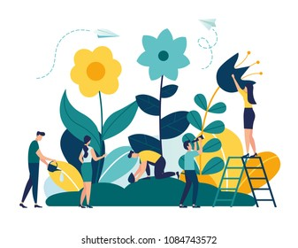 Vector illustration of spring flowers on white background, gardeners look after the garden, growing and studying plants in nature, clean ecology