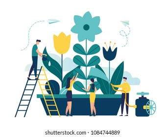 Vector illustration of spring flowers on white background, gardeners look after the garden, growing and studying plants in nature, clean ecology, a man watering with a hose plant