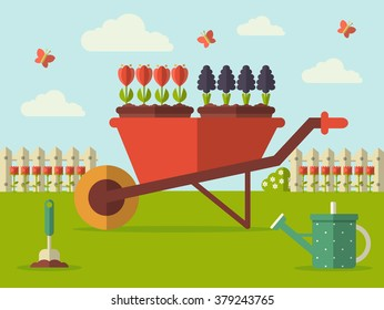 Vector Illustration of a Spring Garden with Wheelbarrow, Watering Can and Flowers. Flat Design Style. Layered EPS10 file.