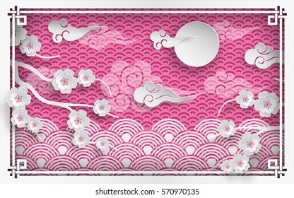 Vector illustration of spring in Japan, branches of cherry flowers on pink background with clouds and sun, oriental pattern frame for chinese new year greeting card, poster or banner, paper cut style