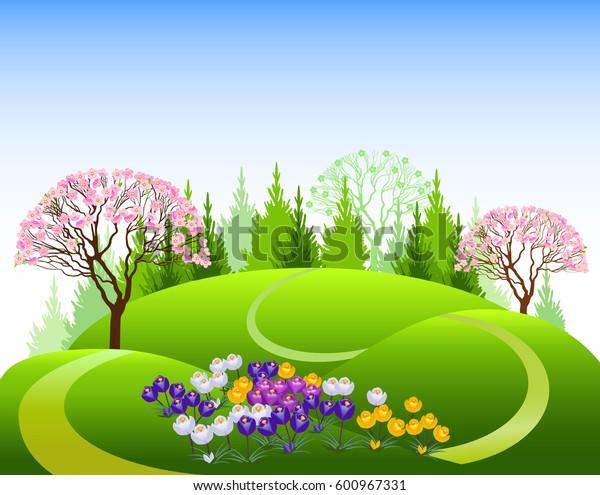 Vector Illustration. Spring landscape.