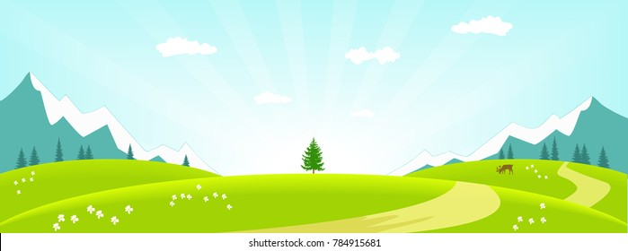 Vector illustration of a spring landscape in the morning