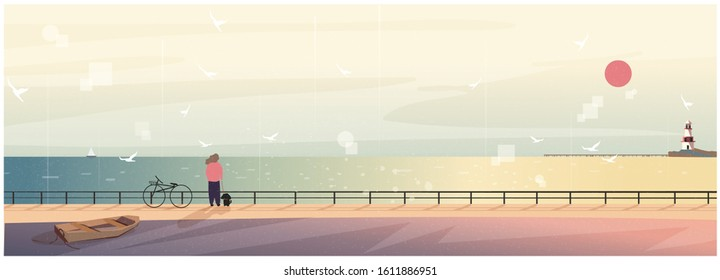 Vector illustration of spring or summer beach background. Minimalist image of Scandinavian or Nordic seaside landscape. Lighthouse,wooden boat, seagull, woman take a dog for a walk. Landscape by the sea.