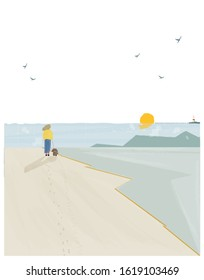 Vector illustration of spring or summer beach background. Minimalist image of summer or spring  seaside landscape. Lighthouse,seagull, woman take a dog for a walk.Landscape by the sea concept.