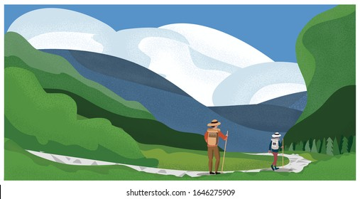 Vector illustration of spring summer mountain landscape.Young couple at mountain trail or hiking in Spring summer.The adventure or people activities concept.