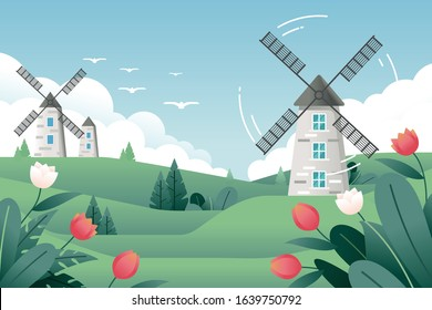 vector illustration of a springtime landscape with a traditional windmill and tulip flowers under a blue sky