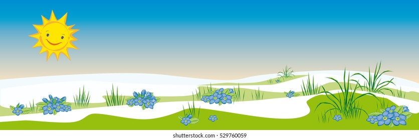 Vector illustration of a springtime snow is melting or thawing time with a smiling sun and early bloomers