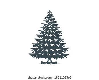 Vector illustration of a spruce tree. Monochrome version.
