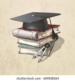 Vector illustration with a square academic cap, a pile of books and a divider tool. Engraving style, in sepia.