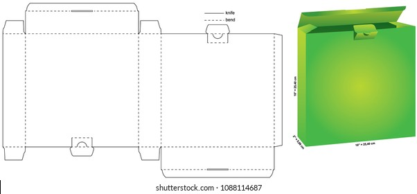 Vector Illustration of square box with preview and dimensions. Package Template. Isolated green preview of retail mock up.