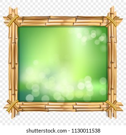 Vector illustration of square brown bamboo sticks border frame, green blurred bokeh background and blurry white circles inside isolated. Abstract concept tropical billboard clip art with copy space.