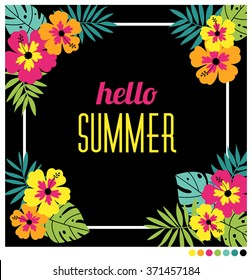 Vector illustration of square card with colorful hibiscus flowers and leaves.Summer greeting card.