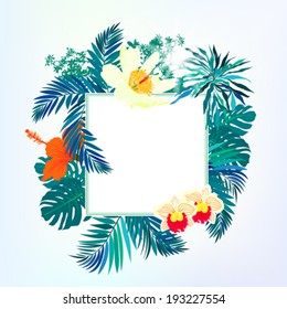 Vector illustration of square card with tropical elements of decor, framed by palm and banana leaves, big monstera plant, orchid flowers and orange hibiscus on sun lighted sky blue background