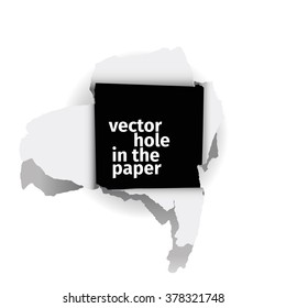 Vector illustration of the square vector hole in the paper