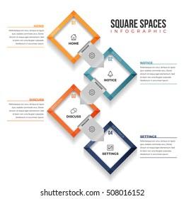Vector illustration of square spaces infographic design element.