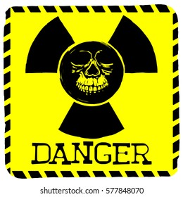 Vector illustration square yellow sign radiation to skull with lettering danger
