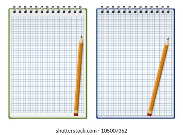 Vector illustration of squared notepad with pencil