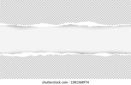 Vector illustration of the squared ripped gray paper for writing messages on light gray abstract background. EPS10.