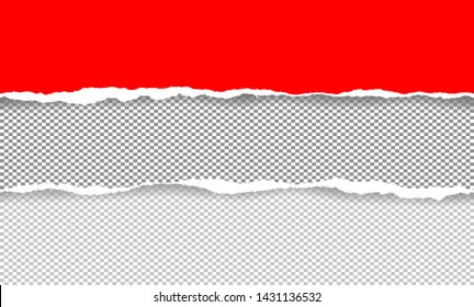 Vector illustration of the squared ripped red and gray gray papers abstract background. EPS10. Idea for writing messages.
