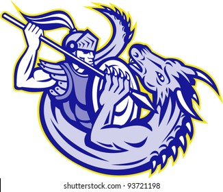 vector illustration of  St. George the knight fighting a dragon with spear and shield on isolated white background.