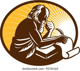 vector Illustration of an St. Jerome old male saint writing using quill pen on paper scroll viewed from side done in retro woodcut style.