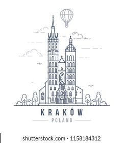 Vector illustration of the St. Mary's Basilica in Krakow, Poland. Line art style drawing of the famous landmark building in the Polish city.
