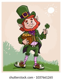 Vector illustration, St. Patrick with money pot, cartoon concept.