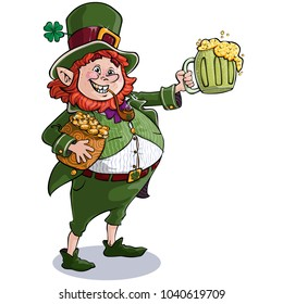 Vector illustration, St. Patrick with money pot and mug with beer, cartoon concept.