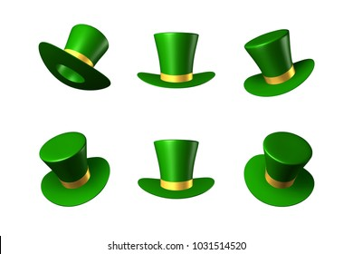 Vector illustration for St. Patrick's Day - green hat cylinder with gold ribbon. 3D object clip-art. Set of three-dimensional icons in different spatial positions. For the creative design