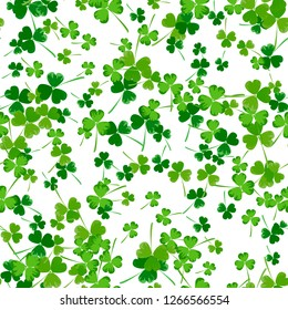 Vector Illustration of a St. Patrick's Day Background. Seamless pattern with clover leaves