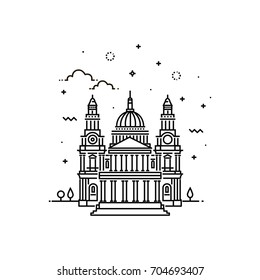 Vector Illustration of St Paul's Cathedral Icon Outline