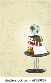A vector illustration of a stack of books on the table for education theme