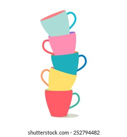 vector illustration of a stack of colorful coffee cups on a white background