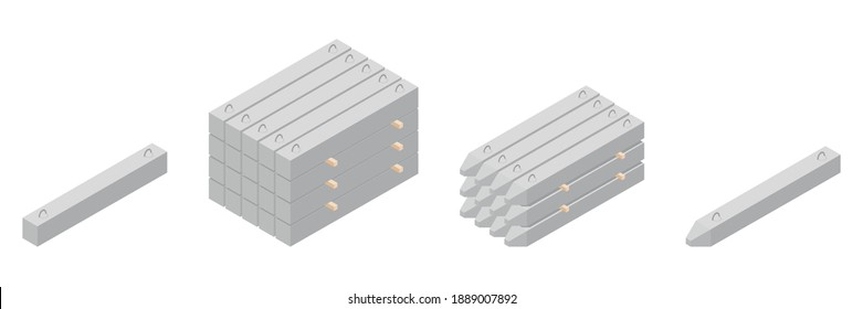 Vector illustration stack of concrete piles isolated on a white background. Set of cement piles isometric icons. Building materials storage in flat style. Precast ferroconcrete piles for construction.