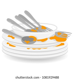 Vector Illustration of Stack of Dirty Plates with Spoon and Fork