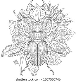 Vector illustration with  stag bee, bug. Colouring page. Garden print with insect. Monochrome line drawing. Flower, floral