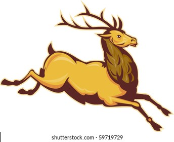 vector  illustration of a Stag deer or buck jumping isolated on white background
