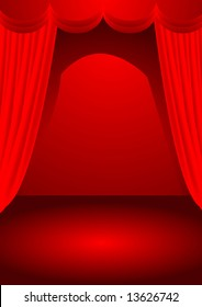 a vector illustration for a stage with red curtain and spot light,